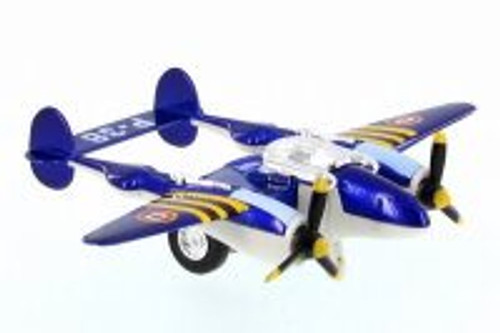P-38 WWII Pullback Fighter, Blue - Showcasts 508D - Diecast Model Toy Car