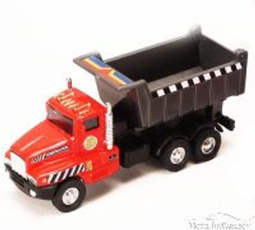 Power Construction Truck - Dump Truck, Red & Black - Showcasts 9961/4D - 5.25 Inch Scale Diecast Model Replica