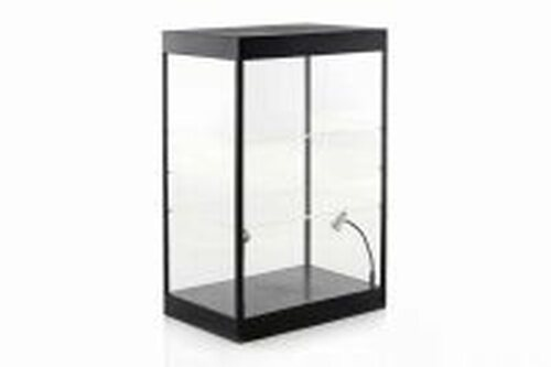Large LED Lighted Display Case With 2 adjustable shelves, Black - ModelToyCars 9927MBK - Display Case for Diecast Cars