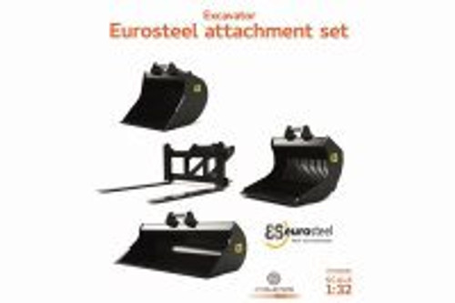 Eurosteel Excavator Accessory Set with S6/S60 connector (3 Buckets and Pallet Fork), Black - AT Collections AT3200104 - 1/32 Scale Diecast Model Toy Car