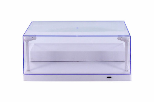 Acrylic LED Display Case With removable riser, White - ModelToyCars 9902W - 1/24 Scale Display Case for Diecast Cars