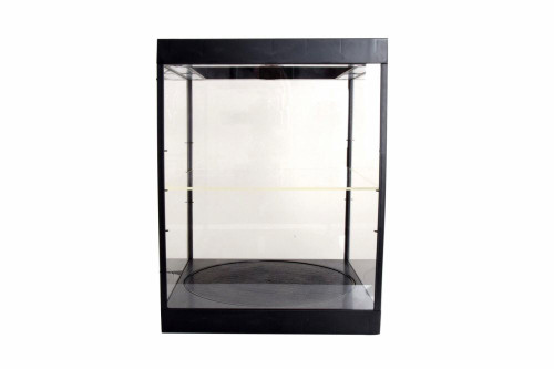 Large LED Light Display Case with Rotary Table and Adjustable Shelf, Black - ModelToyCars 9929MBK - Display Case for Diecast Cars