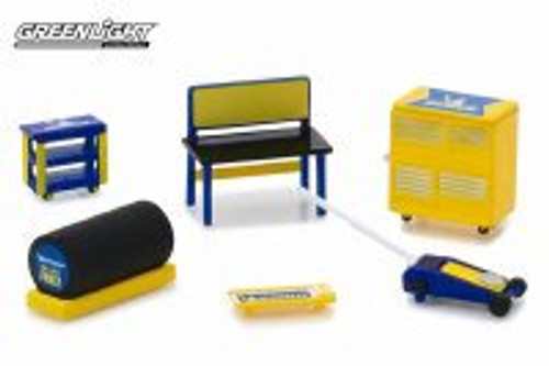 Muscle Shop Tools Michelin Tires, Yellow with Blue - Greenlight 13161/48 - 1/64 Scale Diecast Model Toy Car