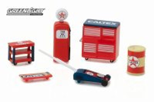 Muscle Shop Tools Caltex, Red with Blue - Greenlight 13159 - 1/64 scale Diecast Model Toy Car