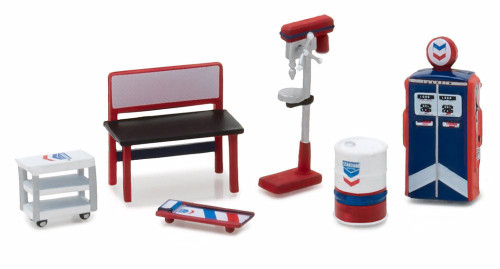 Standard Oil Muscle Shop Tools, Red w/ Blue & White - Greenlight 13157 - 1/64 Scale Diecast Model Toy Car