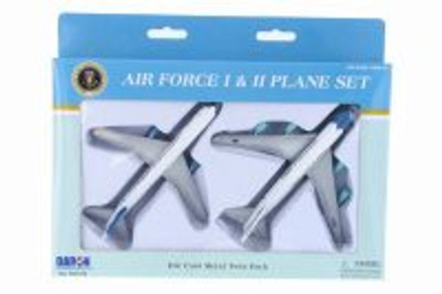 Air Force One & Air Force Two Plane Set, White w/ Silver - Daron RT5733 -  Diecast Model Toy Car