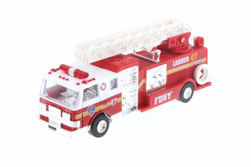 FDNY Pullback Ladder No47 Fire Truck, Red - Daron TM857 - Diecast Model Toy Car