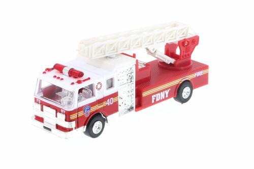 FDNY Pullback Ladder No40 Fire Truck, Red - Daron TM857 - Diecast Model Toy Car