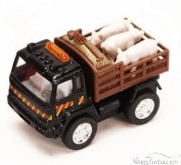 Farm Truck with Pigs, Black - Kinsmart 3755 - 3.25 Inch Scale Diecast Model Replica