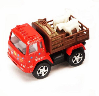 Farm Truck with Sheep, Red - Kinsmart 3755 - 3.25 Inch Scale Diecast Model Replica