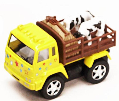 Farm Truck with Cows, Yellow - Kinsmart 3755 - 3.25 Inch Scale Diecast Model Replica