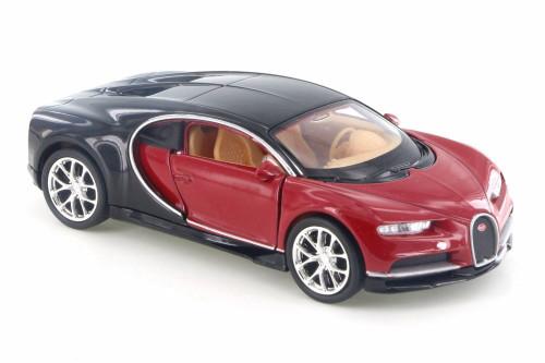 "Bugatti Chiron, Red w/ Black - Welly 43738D - 4.5"" Diecast Model Toy Car"