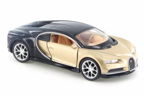 "Bugatti Chiron, Gold w/ Black - Welly 43738D - 4.5"" Diecast Model Toy Car"