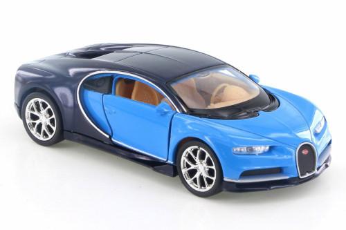 "Bugatti Chiron, Blue - Welly 43738D - 4.5"" Diecast Model Toy Car"