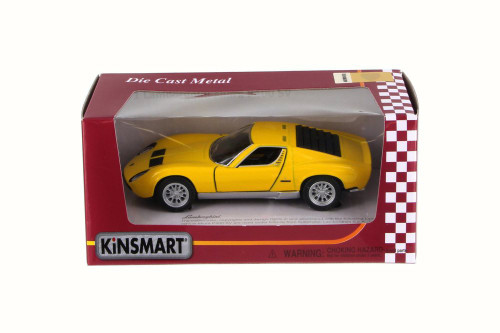 1971 Lamborghini Miura P400 SV, Yellow - Kinsmart 5390W - 1/34 Scale Diecast Model Toy Car