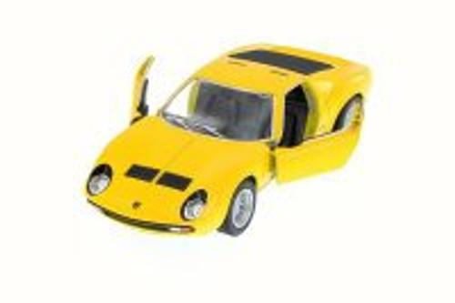 1971 Lamborghini Miura P400 SV, Yellow - Kinsmart 5390W - 1/34 Scale Diecast Model Toy Car