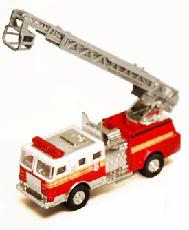 Fire Engine, Red & White - Showcasts 9921/4D - 4.75 Inch Scale Diecast Model Replica