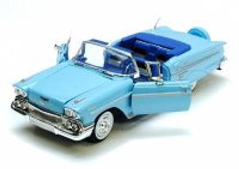 1958 Chevrolet Impala Convertible, Blue - Motormax Premium American 73267 - 1/24 Scale Diecast Model Car