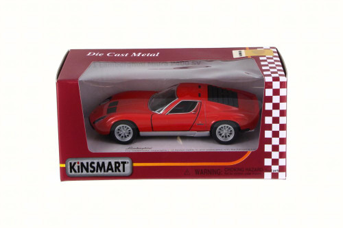 1971 Lamborghini Miura P400 SV, Red - Kinsmart 5390W - 1/34 Scale Diecast Model Toy Car
