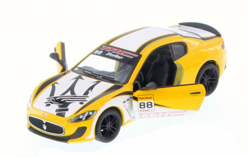2016 Maserati Grand Turismo MC Stradale with Decals Hard Top, Yellow w/ Decals - Kinsmart 5395DF - 1/38 Scale Diecast Model Toy Car