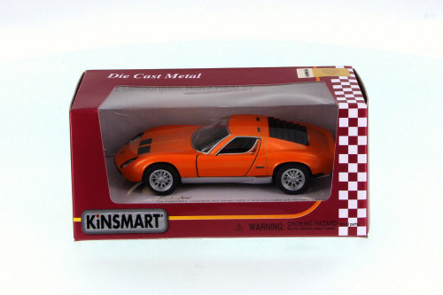 1971 Lamborghini Miura P400 SV, Orange - Kinsmart 5390W - 1/34 Scale Diecast Model Toy Car
