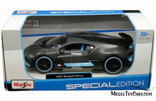 Bugatti Divo, Satin Charcoal Grey - Maisto 31526CHBL - 1/24 scale Diecast Model Toy Car