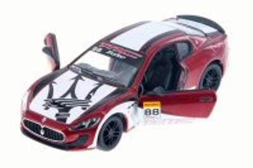 2016 Maserati Grand Turismo MC Stradale with Decals Hard Top, Red w/ Decals - Kinsmart 5395DF - 1/38 Scale Diecast Model Toy Car