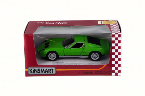 1971 Lamborghini Miura P400 SV, Green - Kinsmart 5390W - 1/34 Scale Diecast Model Toy Car