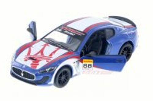 2016 Maserati Grand Turismo MC Stradale with Decals Hard Top, Blue w/ Decals - Kinsmart 5395DF - 1/38 Scale Diecast Model Toy Car