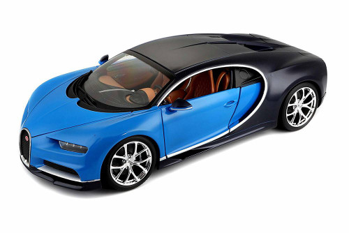 Bugatti Chiron, Blue w/ Black - Bburago 11040BU - 1/18 Scale Diecast Model Toy Car