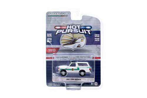 1993 Ford Bronco, US Customs & Border Patrol - Greenlight 42920-D - 1/64 Scale Diecast Model Toy Car