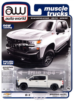 2019 Chevy Silverado Z71 Custom Trail Boss, White - Auto World AWSP043/24B - 1/64 Scale Diecast Model Toy Car