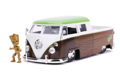 1963 Volkswagen Bus Pickup with Groot Figure, Guardians of Galaxy - Jada Toys 31202/4 - 1/24 scale Diecast Model Toy Car