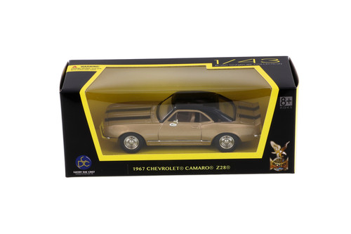 1967 Chevy Camaro Z28 Hardtop, Gold - Lucky Road Signature 94216G - 1/43 scale Diecast Model Toy Car