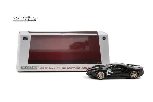 2017 Ford GT '66 Heritage Edition #2, Black - Greenlight 86178 - 1/43 scale Diecast Model Toy Car