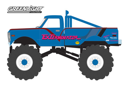 1972 Chevy K-10 Monster Truck with 66-Inch Tires, Exterminador - Greenlight 88033 - 1/43 scale Diecast Model Toy Car
