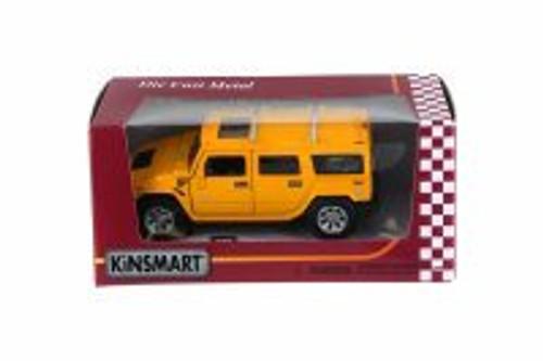 Hummer H2 SUV, Yellow - Kinsmart 5337WYL - 1/40 Scale Diecast Model Toy Car
