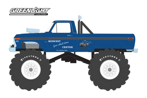 1974 Ford F-250 Monster Truck, Midwest Four Wheel Drive & Performance Center - Greenlight 88031 - 1/43 scale Diecast Model Toy Car