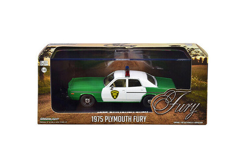 Chickasaw County Sheriff 1975 Plymouth Fury, Green and White - Greenlight 86595 - 1/43 scale Diecast Model Toy Car