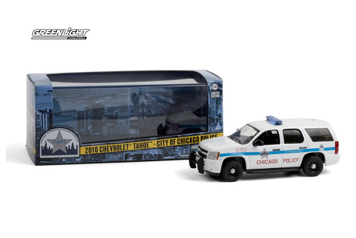 Chicago Police Department 2010 Chevy Tahoe, White - Greenlight 86183 - 1/43 scale Diecast Model Toy Car