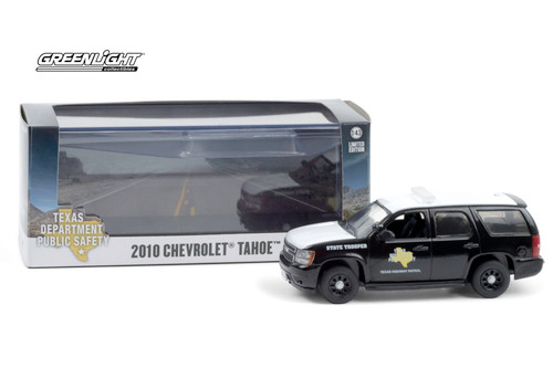 Texas Highway Patrol State Trooper 2010 Chevy Tahoe, White - Greenlight 86184 - 1/43 scale Diecast Model Toy Car