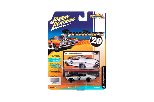1967 Plymouth Barracuda, Silver White Metallic - Johnny Lightning JLSF016/48B - 1/64 scale Diecast Model Toy Car