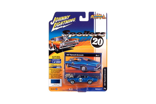 1967 Plymouth Barracuda, Metallic Blue - Johnny Lightning JLSF016/48A - 1/64 scale Diecast Model Toy Car