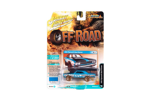 1969 Plymouth Road Runner, Blue with Race Graphics - Johnny Lightning JLSF016/48B - 1/64 scale Diecast Model Toy Car