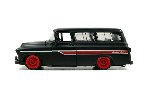 1957 Chevy Suburban, Primer Black - Jada Toys 97686/4 - 1/24 scale Diecast Model Toy Car