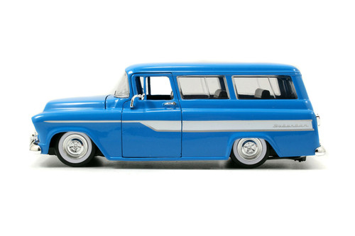 1957 Chevy Suburban, Blue - Jada Toys 97190/4 - 1/24 scale Diecast Model Toy Car