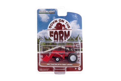 1982 Tractor with Front Loader and Dual Rear Wheels, Red - Greenlight 48040/48 - 1/64 scale Diecast Model Toy Car