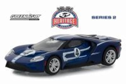 2017 Ford GT, Blue with White - Greenlight 13220C/48 - 1/64 scale Diecast Model Toy Car
