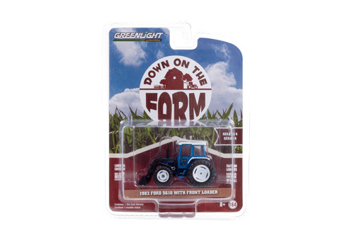 1982 Ford 5610 Tractor with Front Loader, Blue and Black - Greenlight 48040/48 - 1/64 scale Diecast Model Toy Car