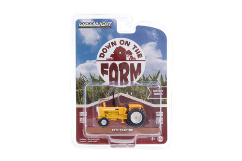 1974 Tractor with Open Cab, Yellow and White - Greenlight 48040/48 - 1/64 scale Diecast Model Toy Car